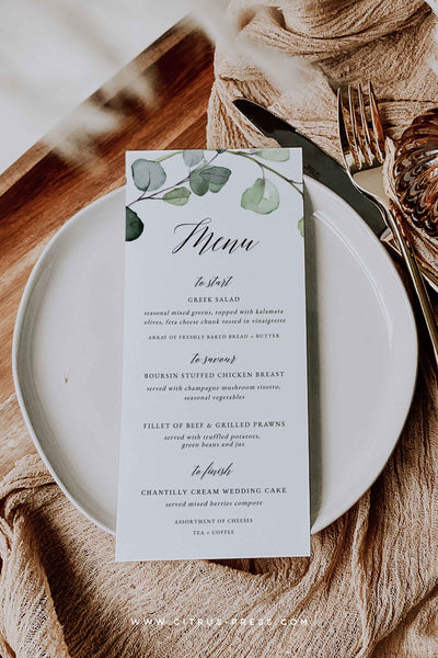 Eucalyptus Menu Template Wedding Reception Corjl Template Templett DIY PDF