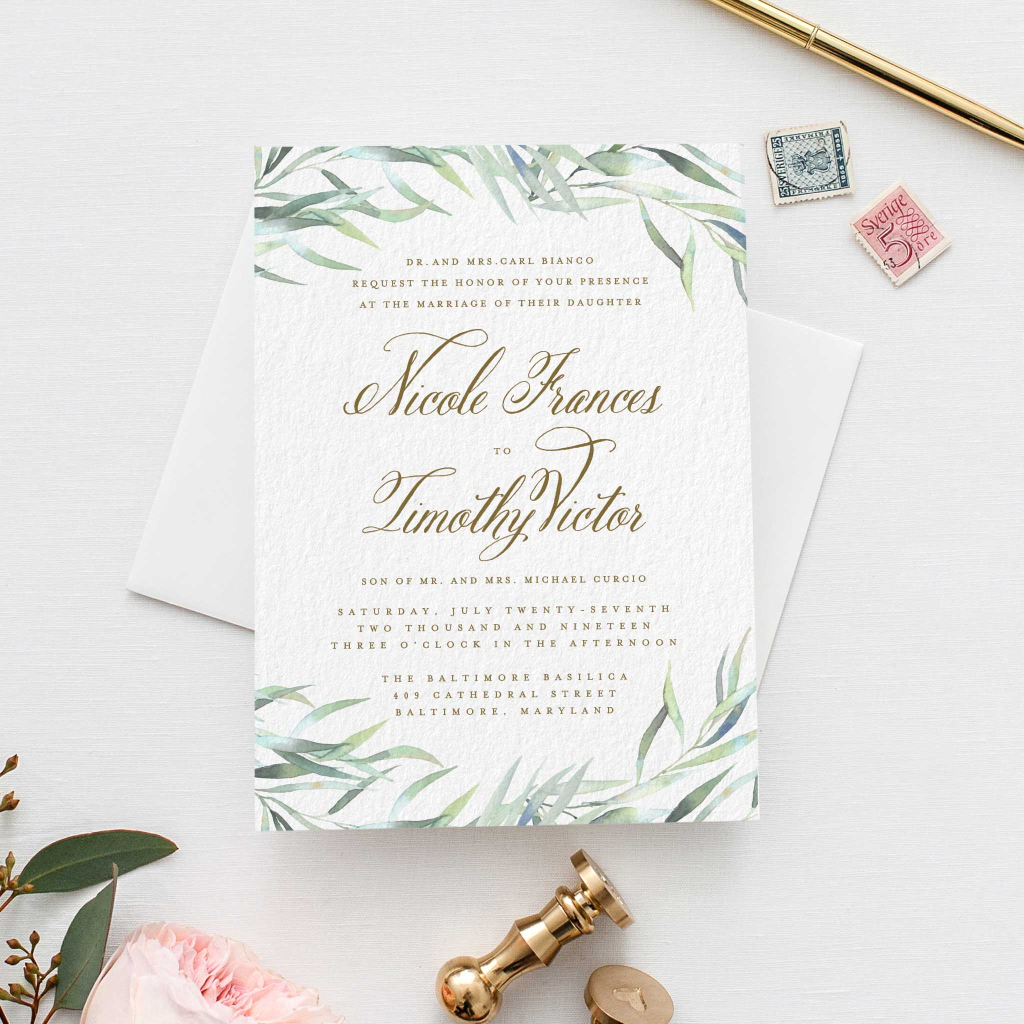 Wedding Invitation Wording: Eucalyptus Wedding Invitation