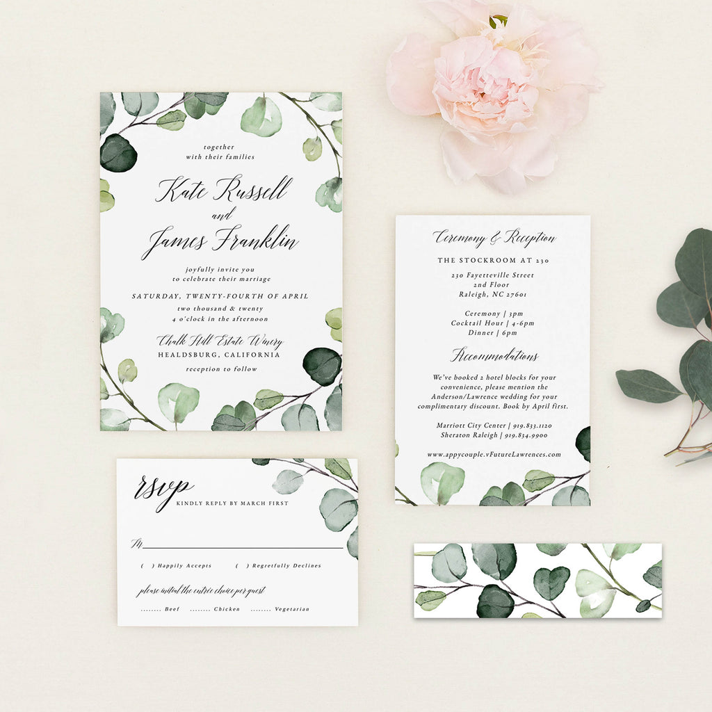 Eucalyptus PDF Wedding Invitation Template