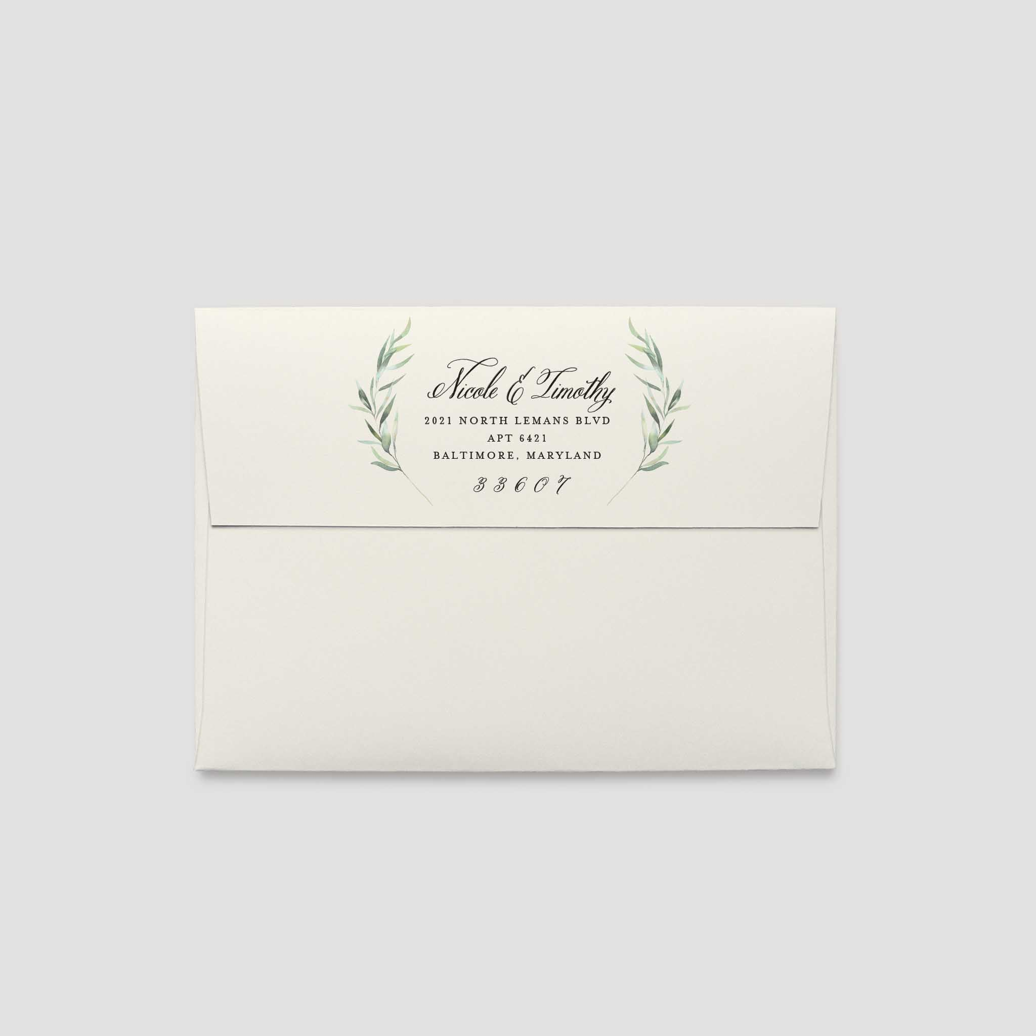 6x9 Wedding Invitation Envelopes: Eucalyptus Wedding Invitation