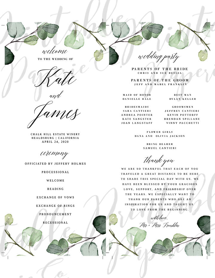 Wedding Program | Eucalyptus | PDF DIY Editable Template | $15