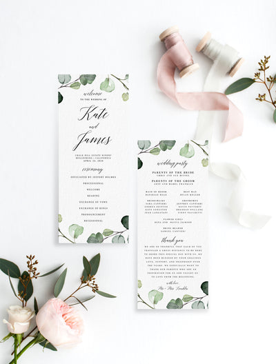 Eucalyptus Wedding Program DIY PDF Editable Template
