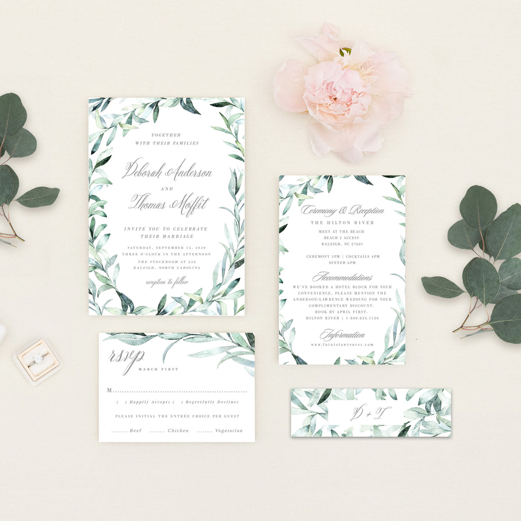 Eucalyptus Wedding Invitation | PDF DIY Template