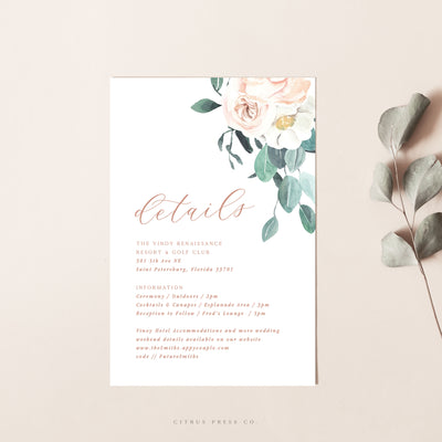 Blush Floral Enclosure Card