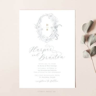 Laurel Crest Filigree Wreath Fine Art Wedding Invitation