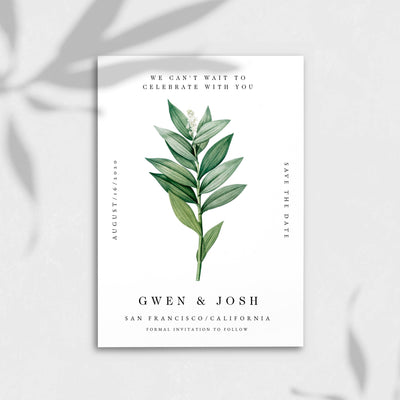 Modern Greenery Save The Date Self Editable DIY PDF Template Printable