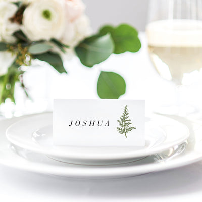 Woodland greenery invitation reception place card
