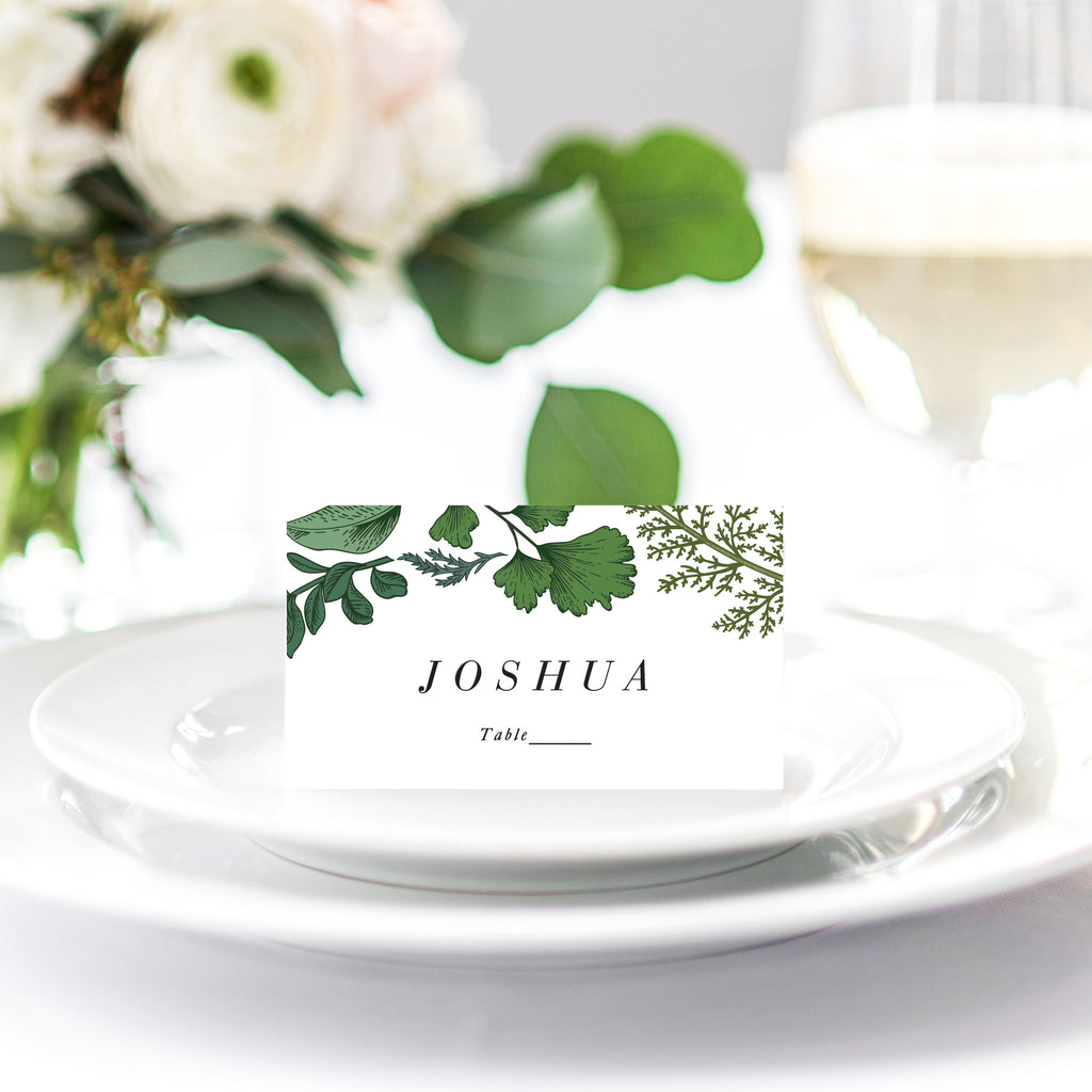 Woodland Fern greenery Leaves invitation reception place card