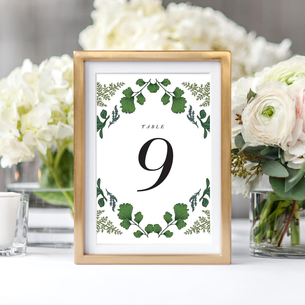 Green Leaf Woodlands Table Numbers for Wedding Reception