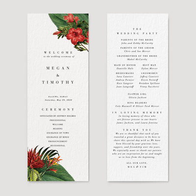 Hawaii Tropical Wedding Reception Program