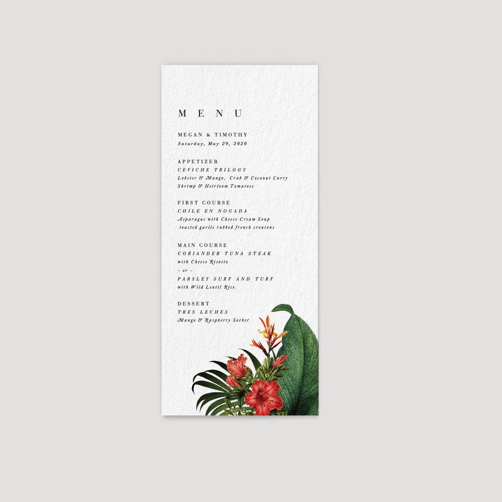Hawaii Tropical Wedding Reception Menu