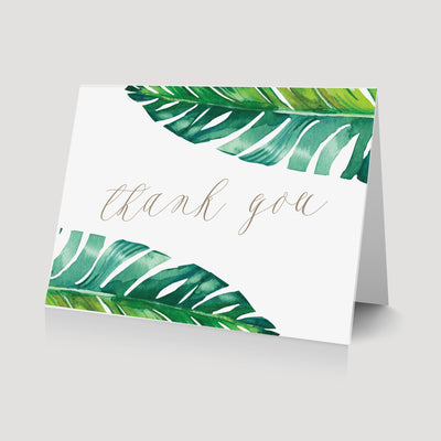 Palm Leaf Tropical Thank You card