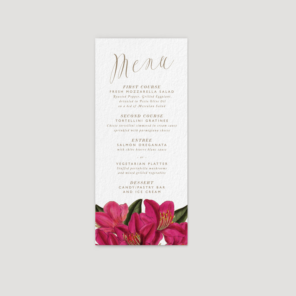 bougainvillea flower wedding reception menu