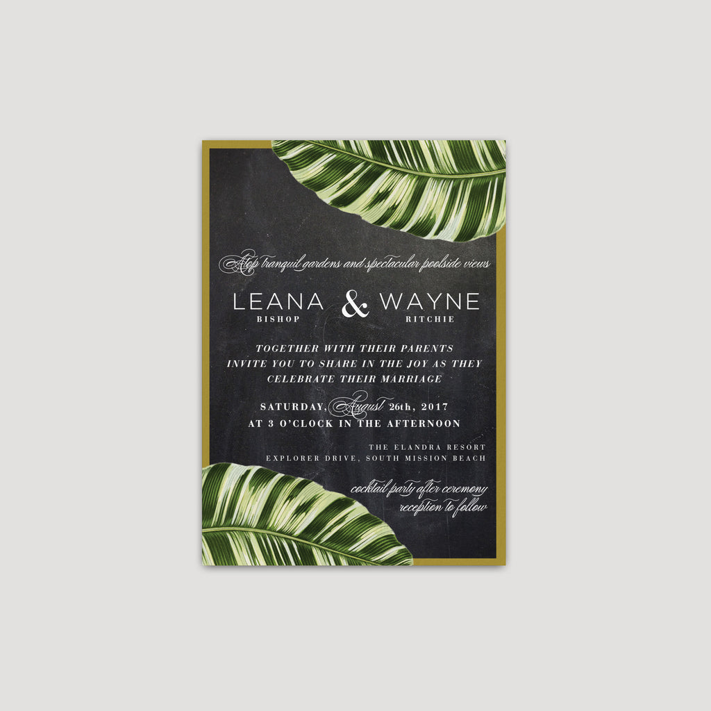 Tropical plam leaf wedding invitation
