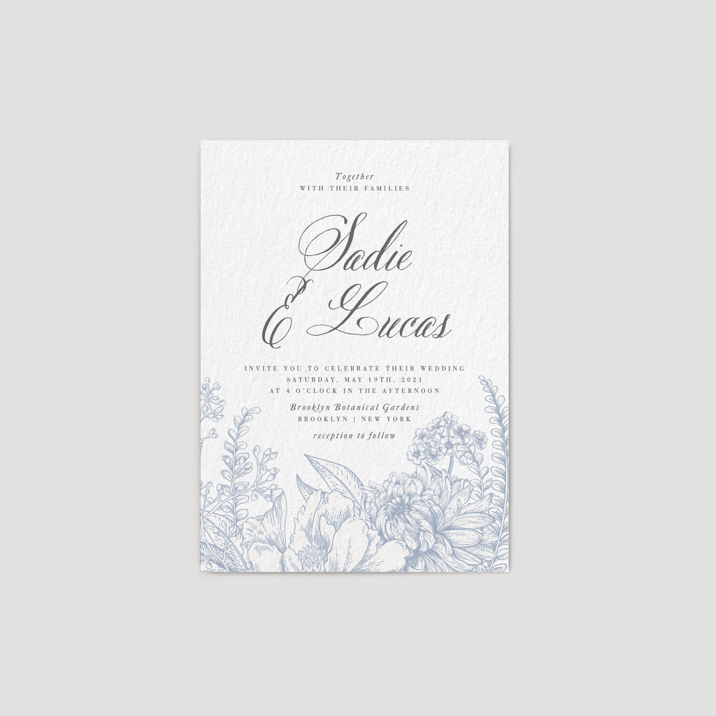 Blue chinoiserie wedding invitation