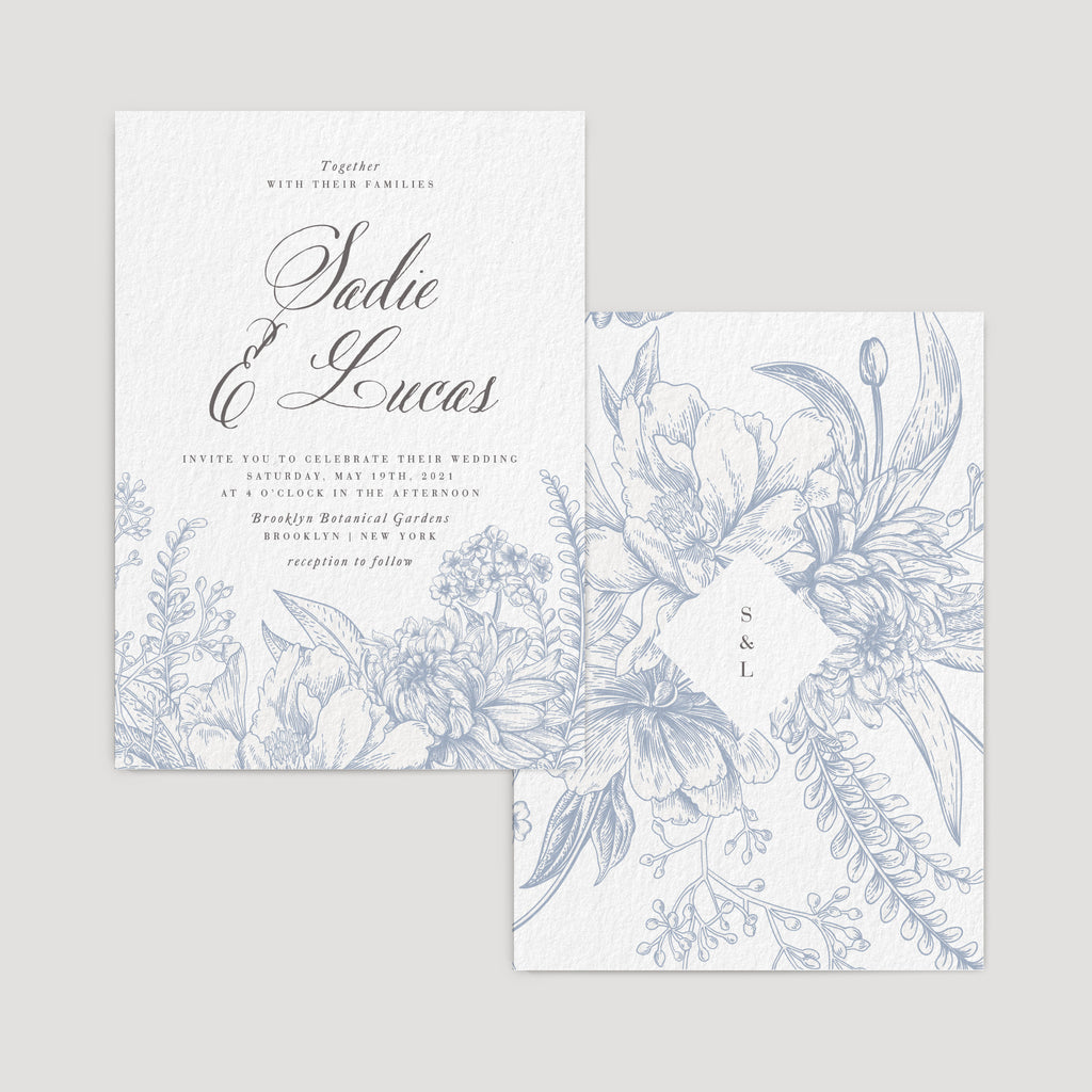 Elegant garden dusty blue wedding invitation