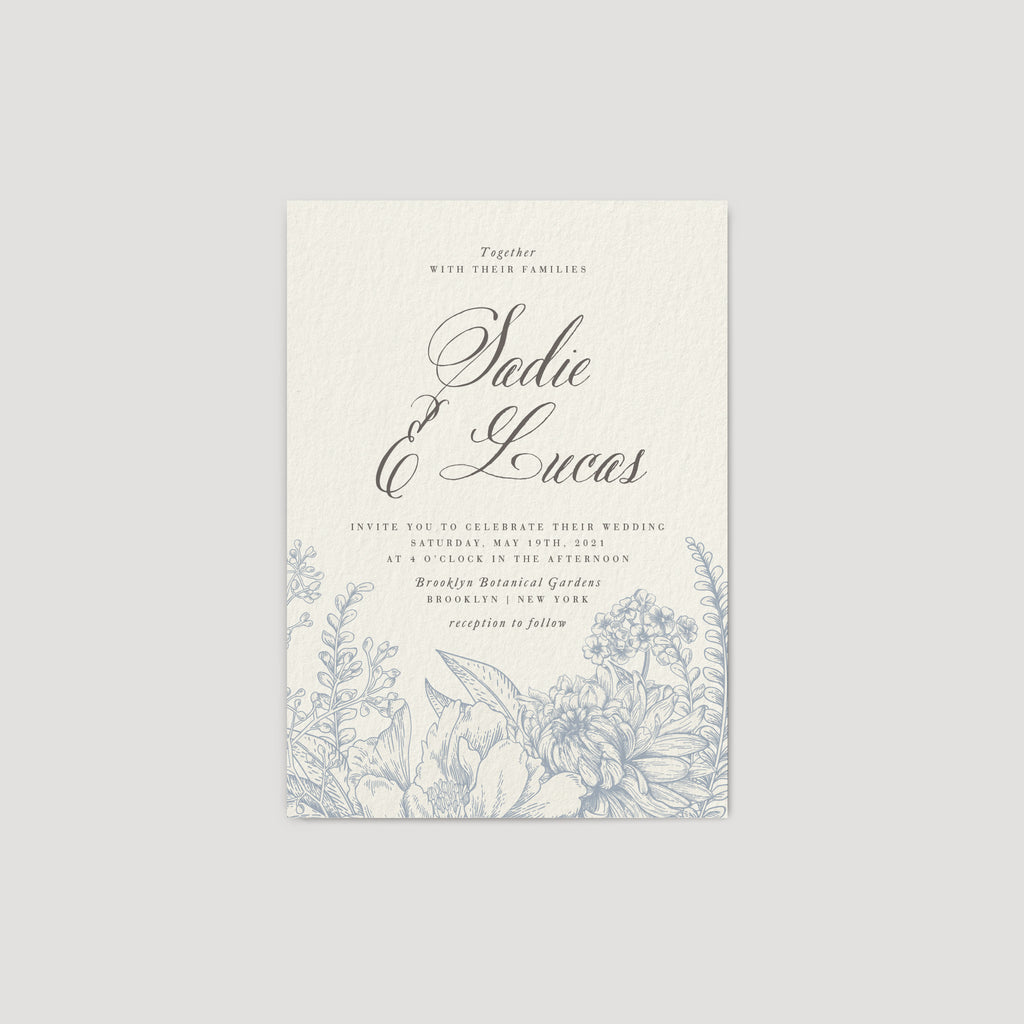 Blue elegant garden flower wedding invitation
