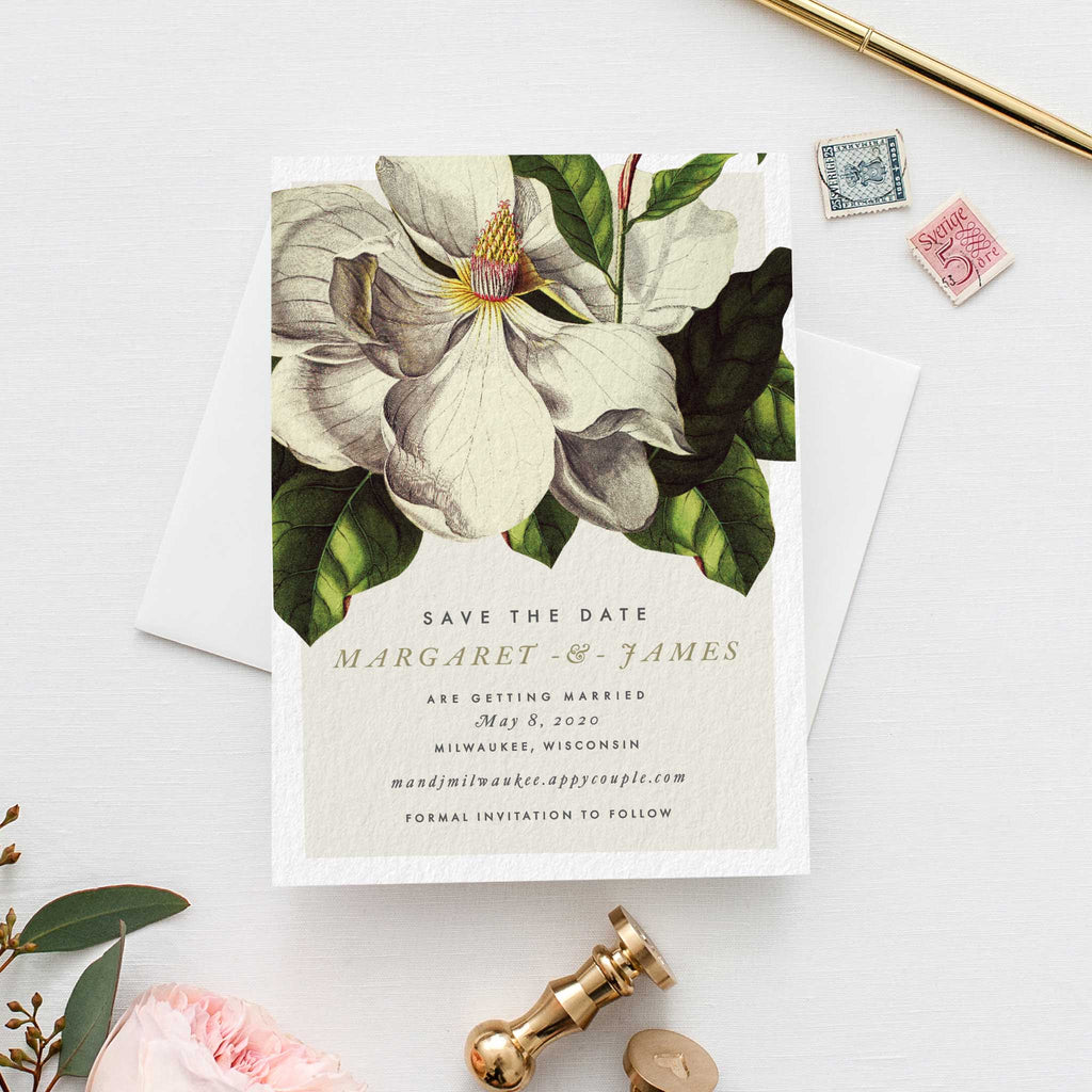 Magnolia save the date botanical vintage