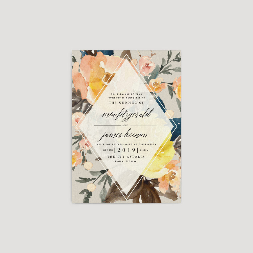 Mod peach and gray floral wedding invitation