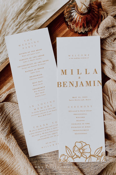 Boho Minimal Rust Terracotta Wedding Ceremony Program Programme