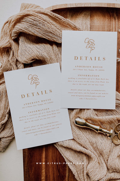 Minimal Boho Line Art Wedding Enclosure Card Details Card