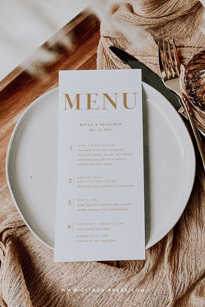 Boho Wedding Reception Menu Modern Minimal Rust Terrcotta color
