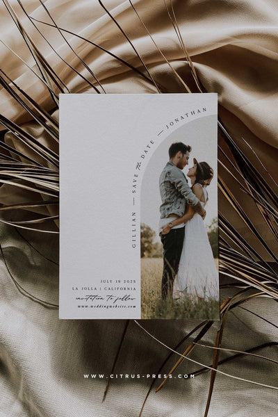 MOde Arch Photo Save the Date Card Hipster Minimal Engaged Announcement Card