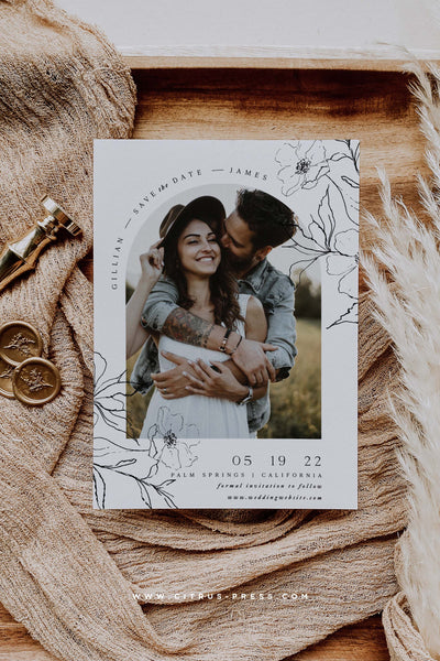 Arch Photo Save the Date Card Boho FloralMinimal Engaged Announcement Card