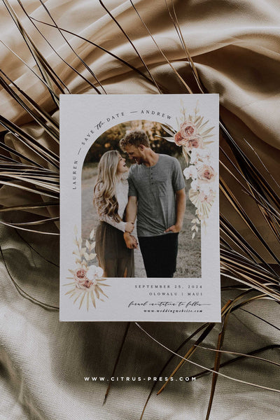 Boho Arch Pampas Grass Save the Date Photo Card Engaged Bride to Be