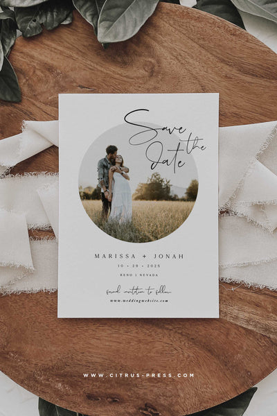 Minimal Save The Date Round Photo Card Invitation Announcement Card Engaged Getting Married Card