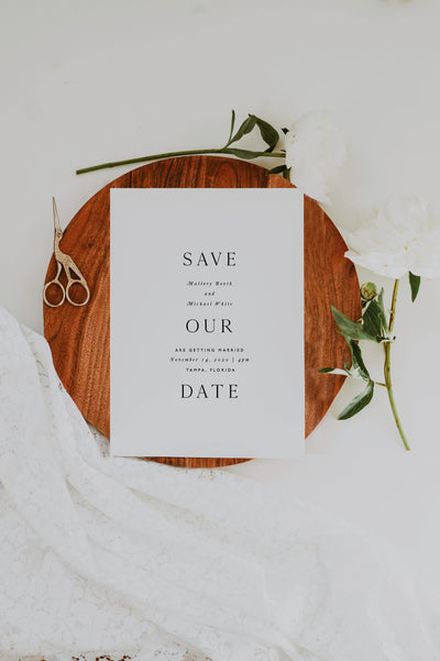 Save the Date Simple Modern Minimal Wedding Invitation