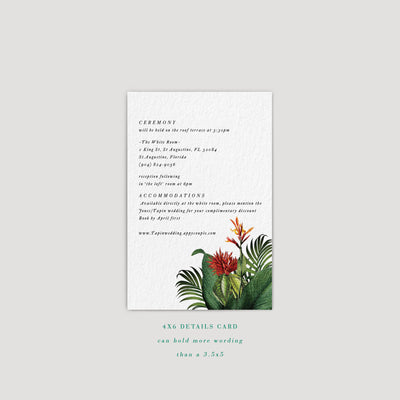 Modern Tropical Wedding Enclosure card