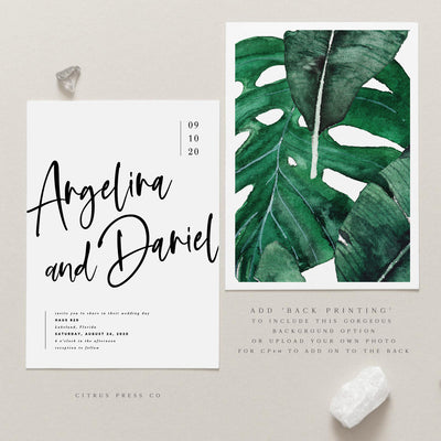 Minimalist Modern Simplistic Tropical Destination Wedding Invitation