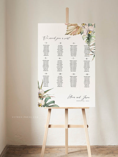 pampas tropical palm leaves orchid wedding seating chart template