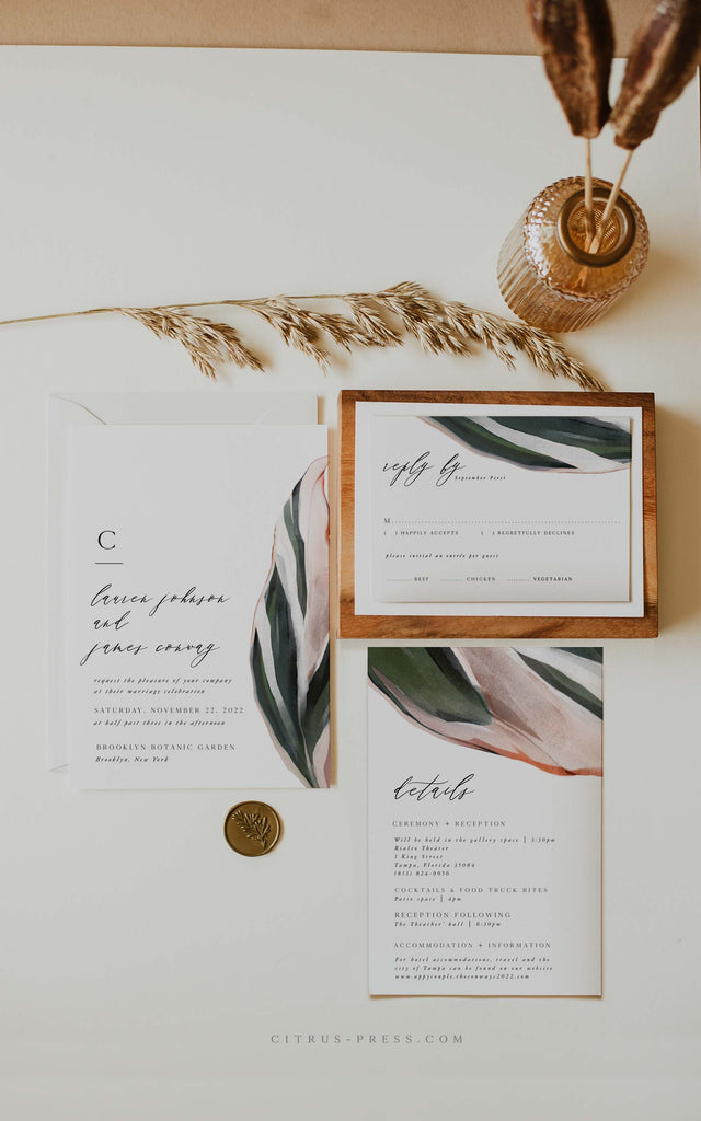 Modern Tropical Wedding Invitation PDF DIY Self Editable Template
