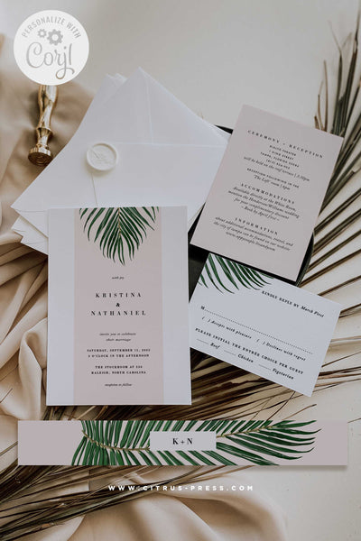 Mod Tropical Wedding Invitation PDF DIY Self Editable Template Corjl Template Printable