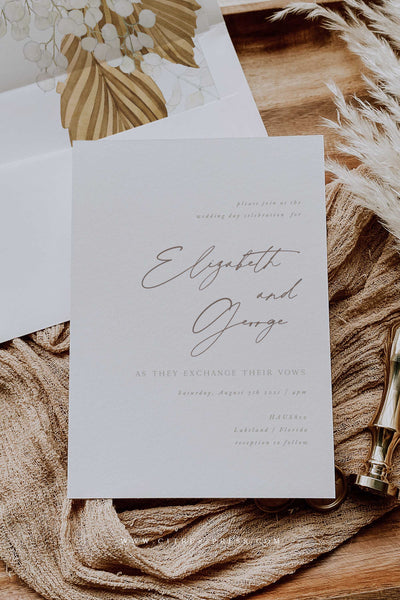 Modern Boho Minimal Wedding Invitation