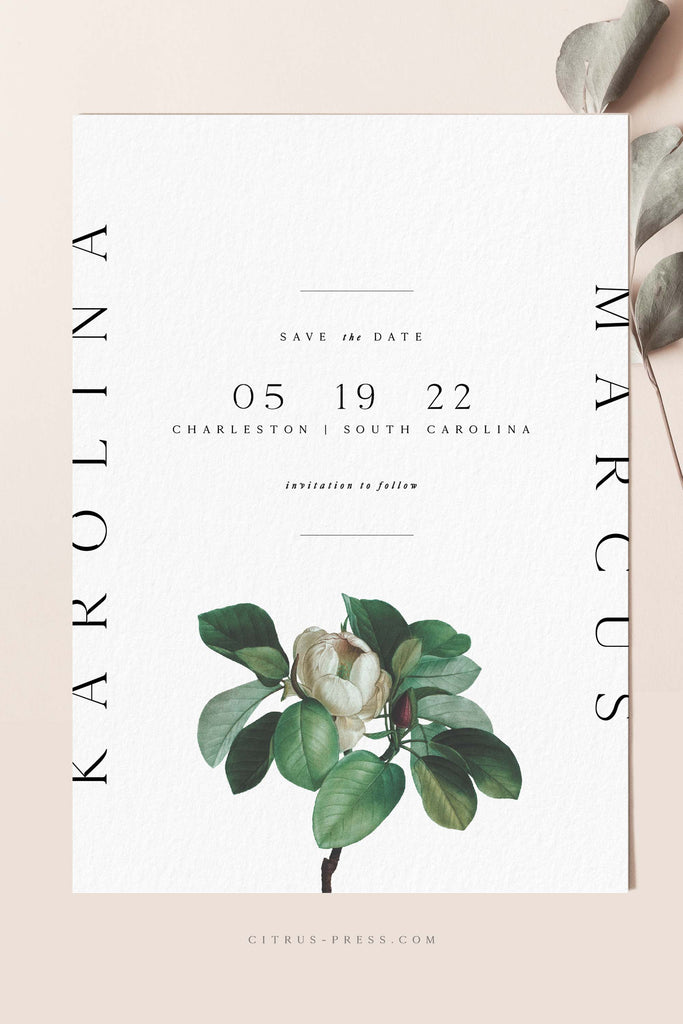 Modern Magnolia Wedding Invitation Save the Date Card Announcement
