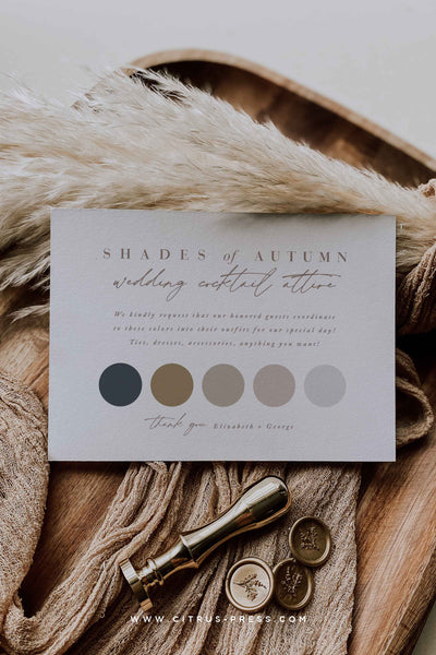 Color Chart for Wedding Day Attire