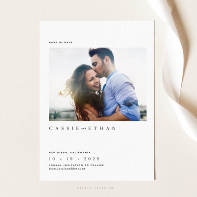 Modern Minimal Photo Save the Date Announcement Card