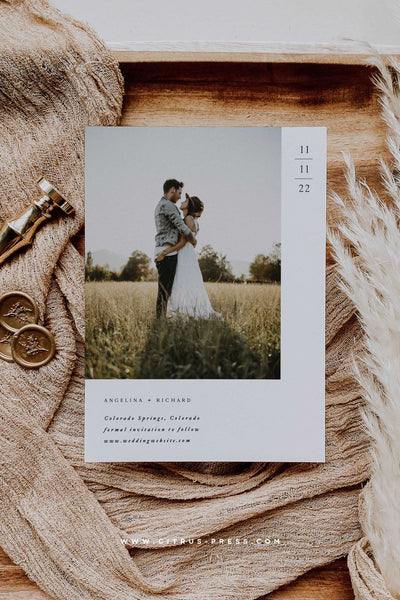 Modern Minimal Photo Save the Date Card