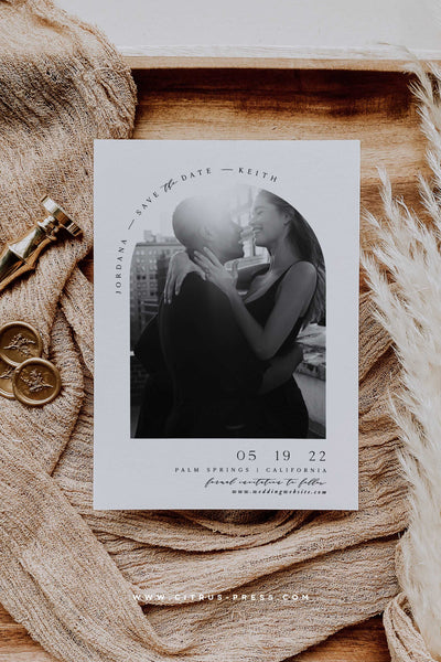 Modern Minimal Arch Photo Save The Date Card Design
