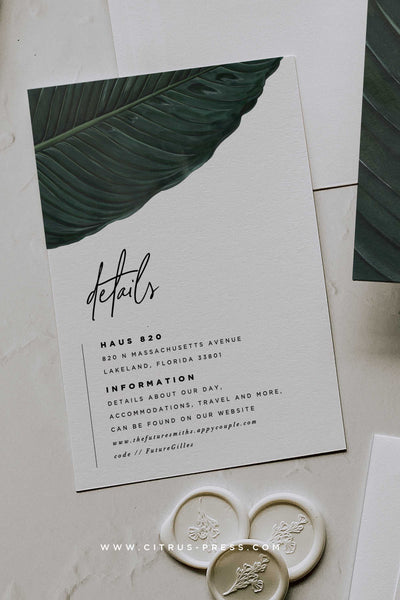 Minimal Tropical Wedding Invitation Suite Enclosure