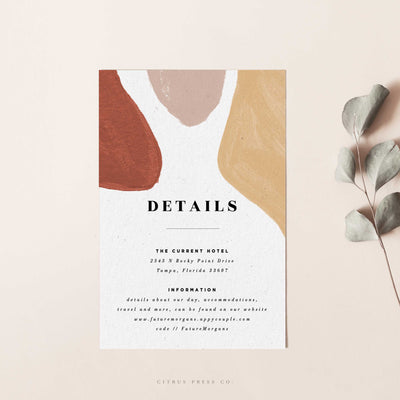 modern abstract wedding enclosure card