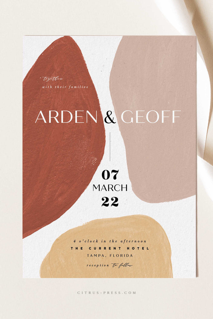 Modern Abstract Shape Wedding Invitation in nude and rust colors