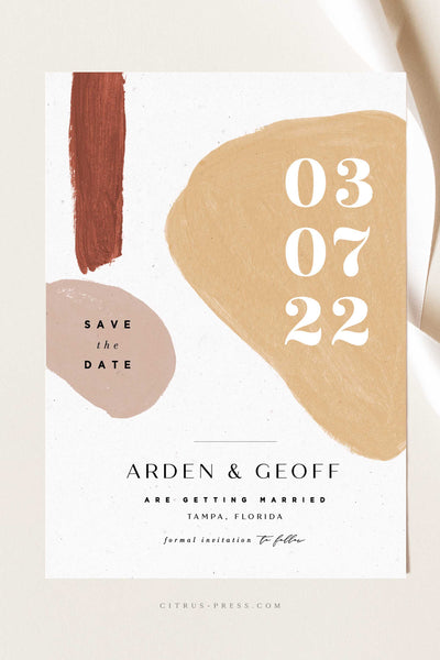 Modern Abstract Shape Wedding save the date Invitation in nude and rust colors