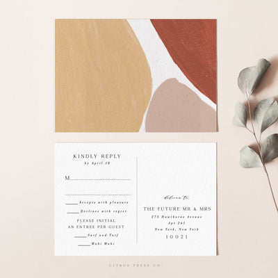Abstract shapes RSVP postcard wedding invitation