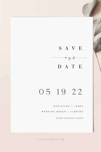 Minimal Simple Save the Date Wedding Invitation Annoucement Card