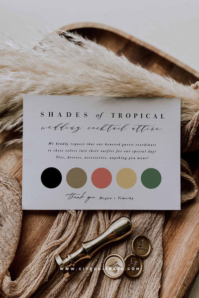 Wedding Color Palette Enclosure Card