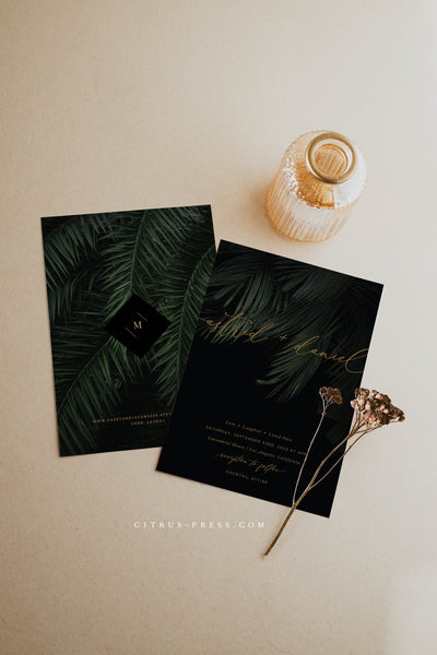 Dark Moody Tropical Destination Wedding Invitation Suite